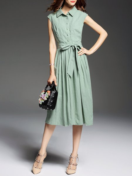 Green Short Sleeve Linen A-line Shirt Dress
