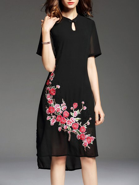 Black Embroidered Asymmetrical Short Sleeve Stand Collar Vintage Midi Dress