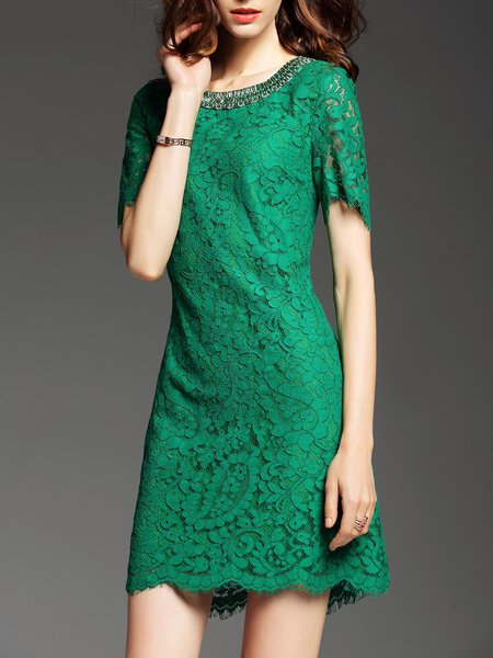Green Cocktail Cotton Crocheted Sheath Mini Dress