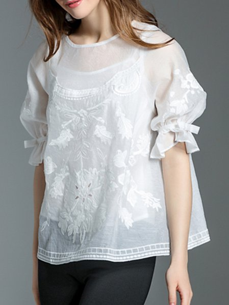 Plus Size White Casual Embroidered Two Piece Crew Neck Tops
