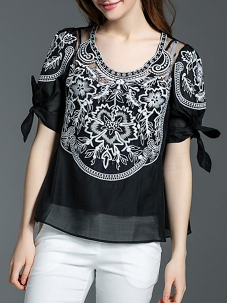 Black Crew Neck Casual Embroidered Two Piece Blouse