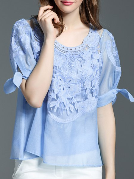 Light Blue Two Piece Crew Neck Casual Embroidered Blouse