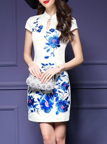 White Vintage Stand Collar Floral Embroidered Mini Dress