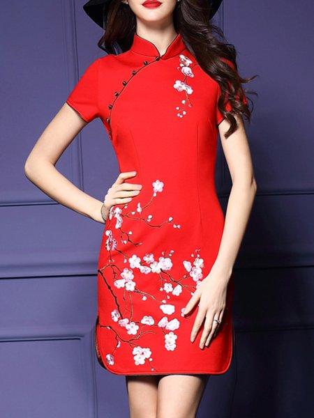Short Sleeve Vintage Cotton Mini Dress