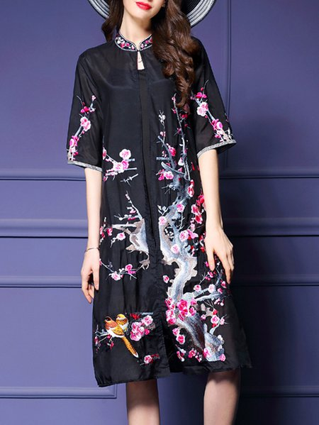 Black Embroidered Stand Collar Half Sleeve H-line Coat