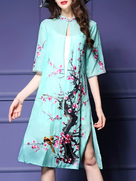 Green Half Sleeve Floral Coat