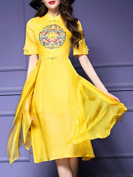 Vintage Stand Collar Short Sleeve Midi Dress