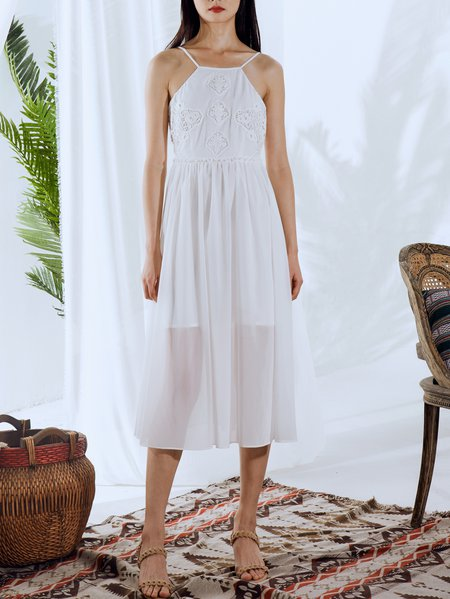 White Pierced Simple Midi Dress