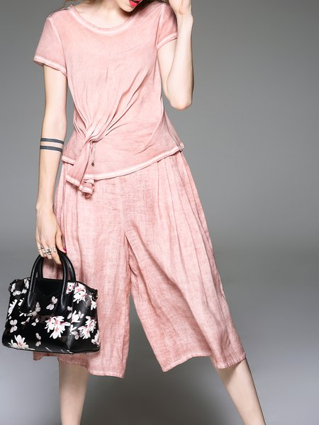 Pink Crew Neck Gathered Short Sleeve Jumpsuit