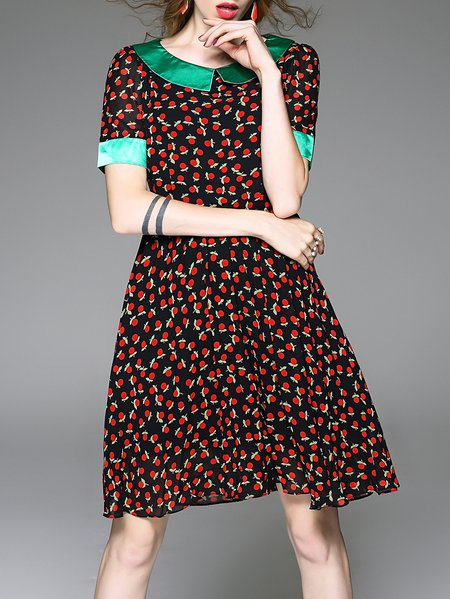 Black Printed Short Sleeve A-line Peter Pan Collar Midi Dress