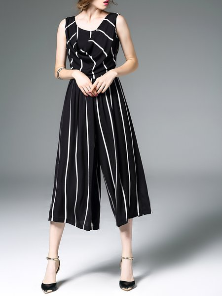 Black Stripes Simple Sleeveless Polyester Jumpsuit