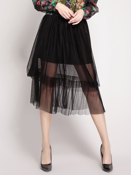 Black A-line Plain Voile Casual Midi Skirt