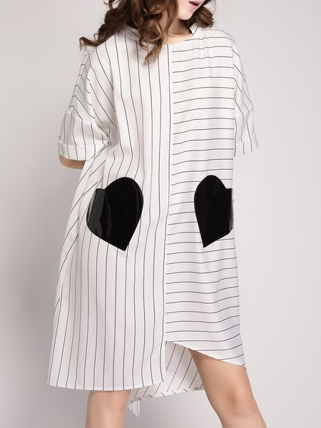 White Stripes Half Sleeve Polyester Appliqued Midi Dress