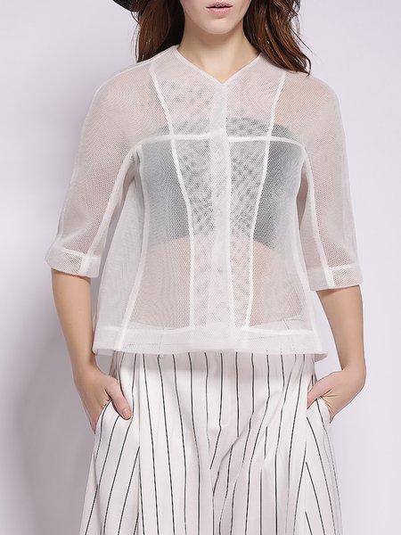 White Polyester Mesh 3/4 Sleeve Cropped Jacket