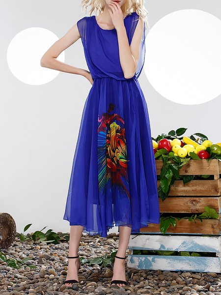 Blue Batwing Swing Mesh Midi Dress