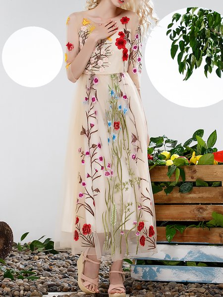 Apricot 3/4 Sleeve A-line Embroidered Maxi Dress