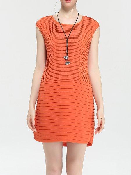 Sheath Simple Folds Short Sleeve Mini Dress