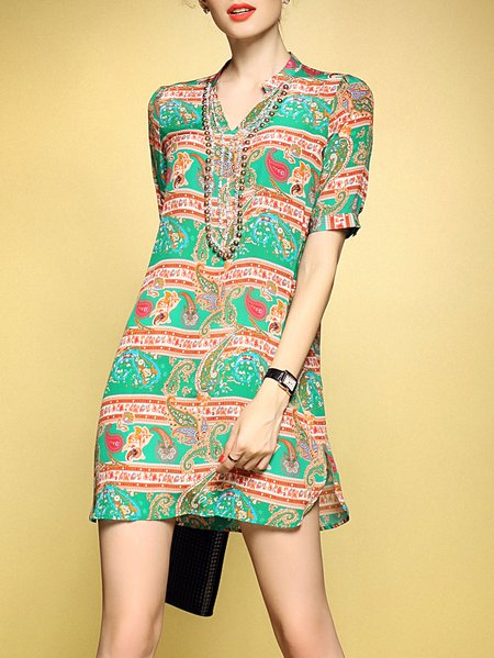 Multicolor Silk Tribal Casual Mini Dress
