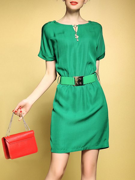 Green Elegant Sheath Batwing Mini Dress With Belt