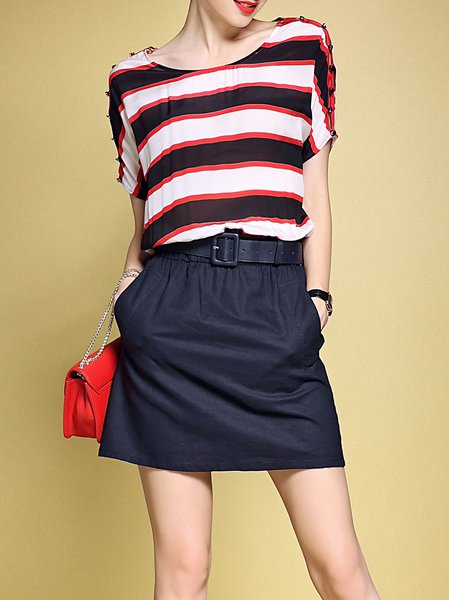 Multicolor Stripes Girly Mini Dress