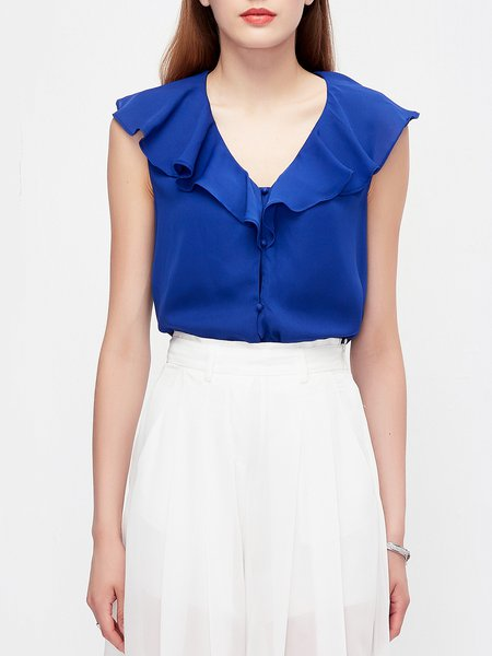 Blue Ruffled Simple Blouse