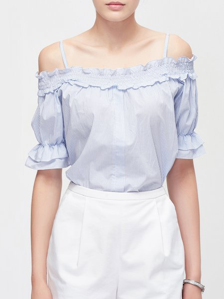 Blue Off Shoulder Casual Cotton Stripes Blouse