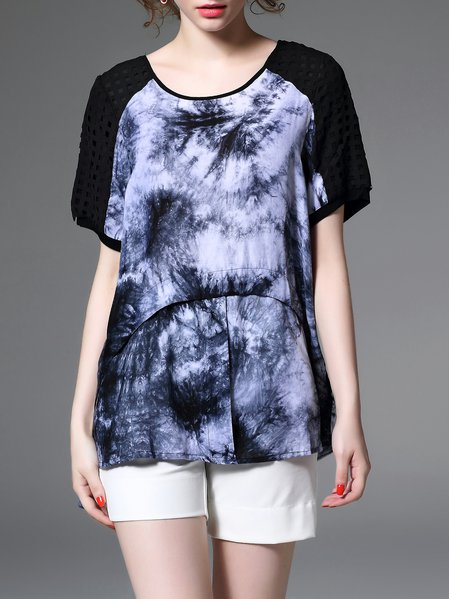 Multicolor Abstract Short Sleeve Short Sleeved Top