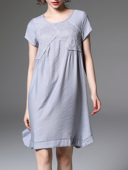 Short Sleeve Plain Elegant Polyester Midi Dress