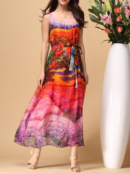 Boho Sleeveless Silk Printed Maxi Dress