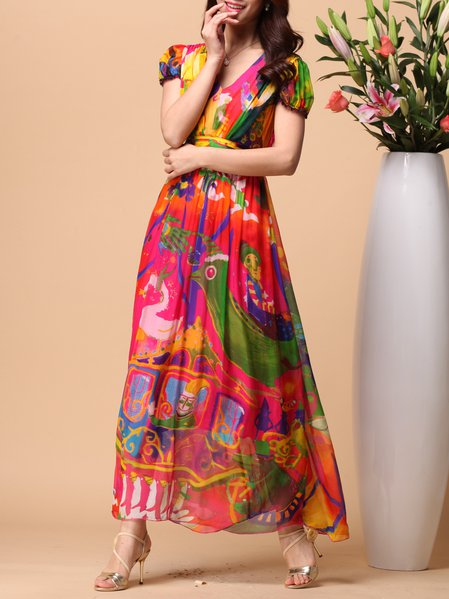 Short Sleeve Printed Silk A-line Casual Maxi Dress