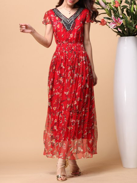 Red Silk A-line Elegant Floral Maxi Dress