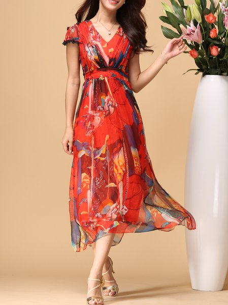 Red Printed Abstract Elegant Midi Dress