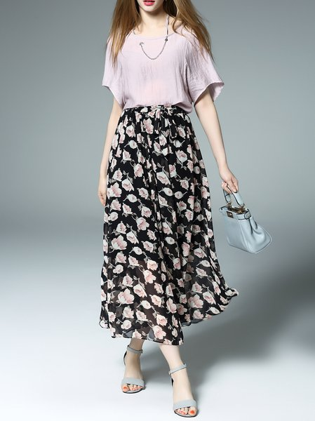 Short Sleeve Crew Neck Two Piece Floral-print Casual Midi Dress