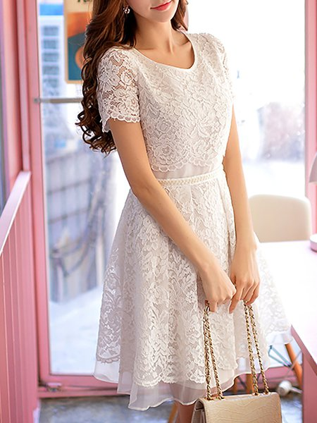 White Floral Pierced Lace Casual Midi Dress