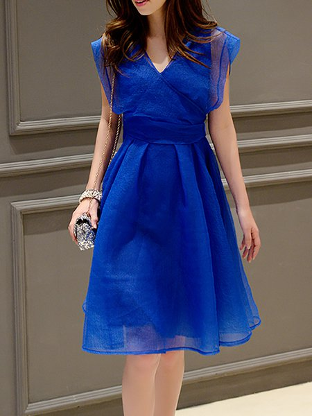 Royal Blue Plain Casual Midi Dress