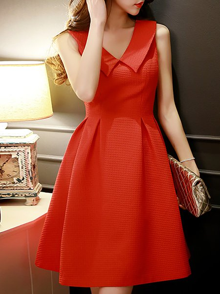 Red Shirt Collar A-line Casual Midi Dress