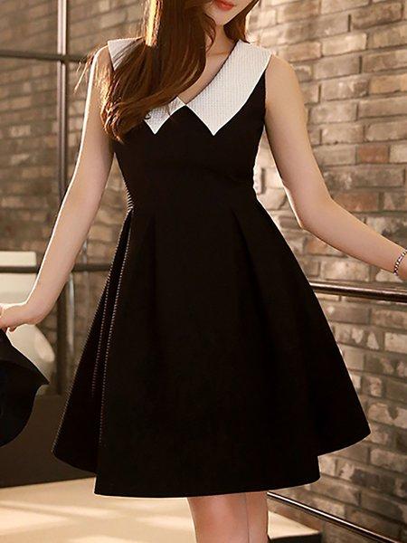 Sleeveless Plain A-line Casual Shirt Collar Midi Dress
