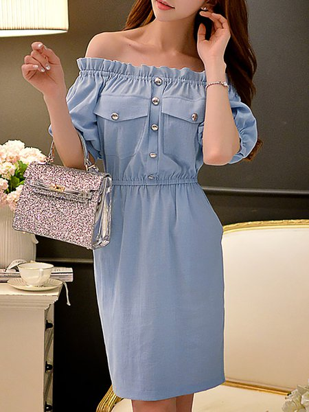 Sky Blue Off Shoulder Balloon Sleeve Midi Dress