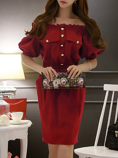 Off-shoulder Girly Balloon Sleeve Midi Dress