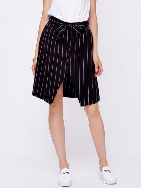 Black A-line Simple Midi Skirt