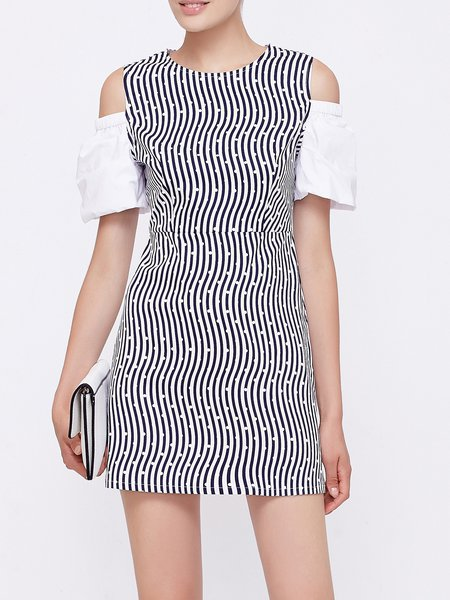 Blue Stripes Casual Printed Crew Neck Mini Dress