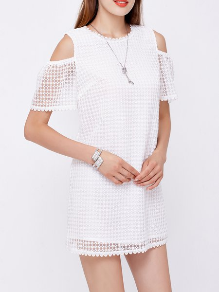 White Girly Pierced Mini Dress