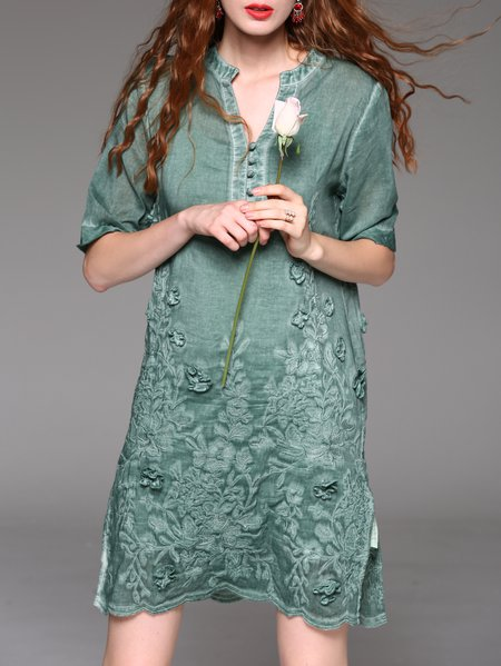 Green Half Sleeve Embroidered Two Piece Stand Collar Midi Dress