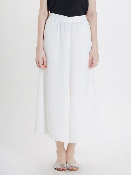 White Chiffon Simple Wide Leg Pant