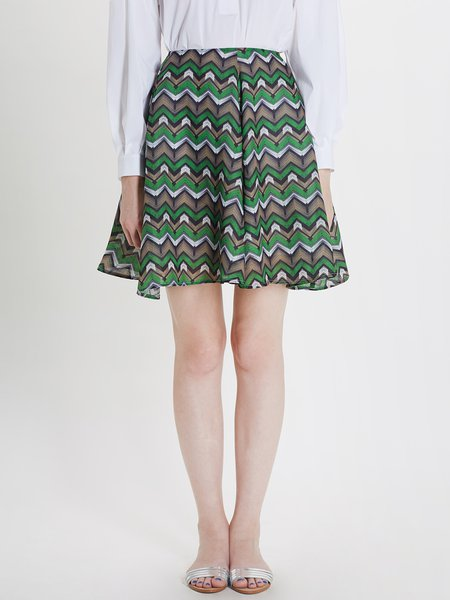 Green A-line Polyester Casual Geometric Mini Skirt