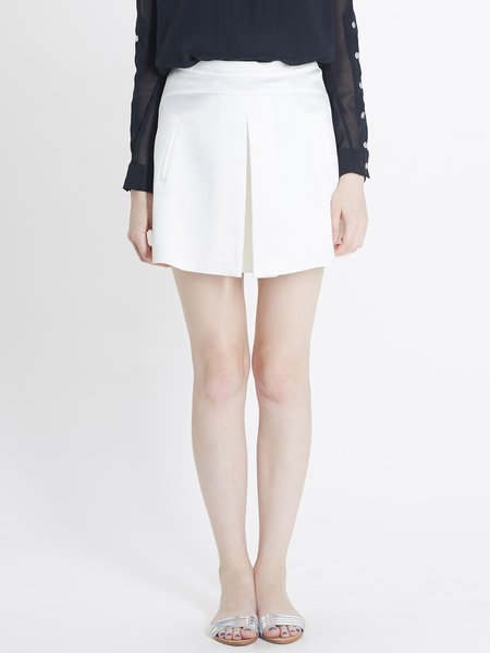 White Acetate Statement Plain Folds Mini Skirt