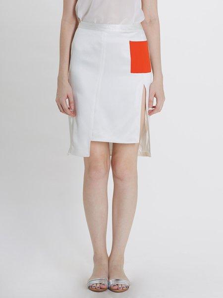 White Plain Color-block Bodycon Statement Midi Skirt