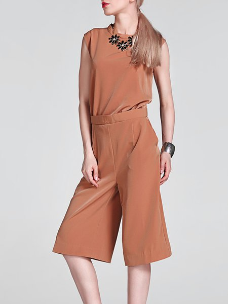Khaki Sleeveless Plain Polyester Jumpsuit