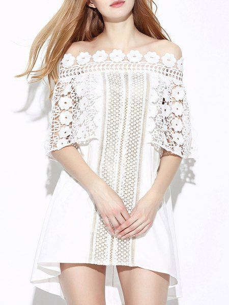 White Off Shoulder Girly Lace Mini Dress