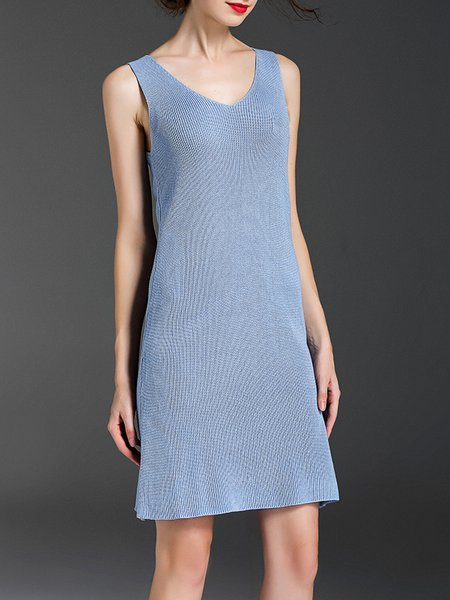 Blue Sleeveless Knitted Sweater Dress